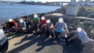Fifteen people were arrested on Sunday, Feb. 16, 2020 following a human smuggling attempt in Mission Bay.
