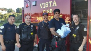 Oceanside police officers helped deliver a healthy baby girl on Monday, Feb. 24, 2020 when her parents called to report they would not make it to the hospital in time.