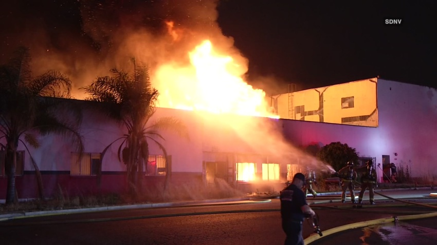 Firefighters respond to a two-alarm fire on Wednesday, June 17, 2020 in Barrio Logan.