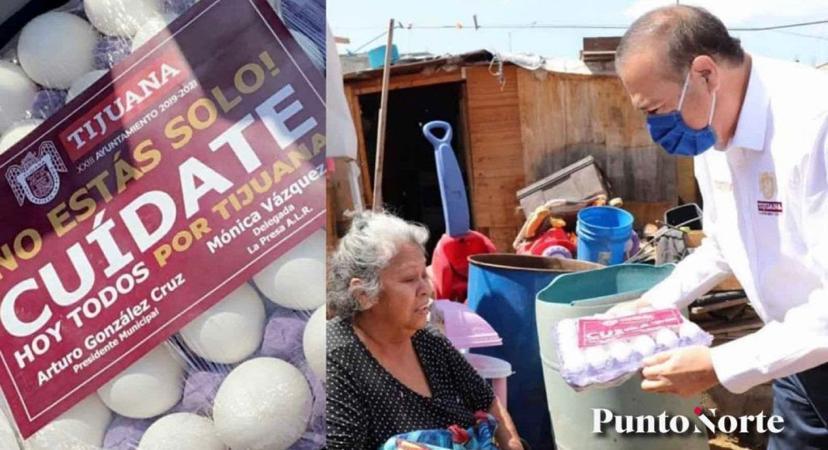 alcalde de tijuana entrega huevos con su nombre, niega campaña política