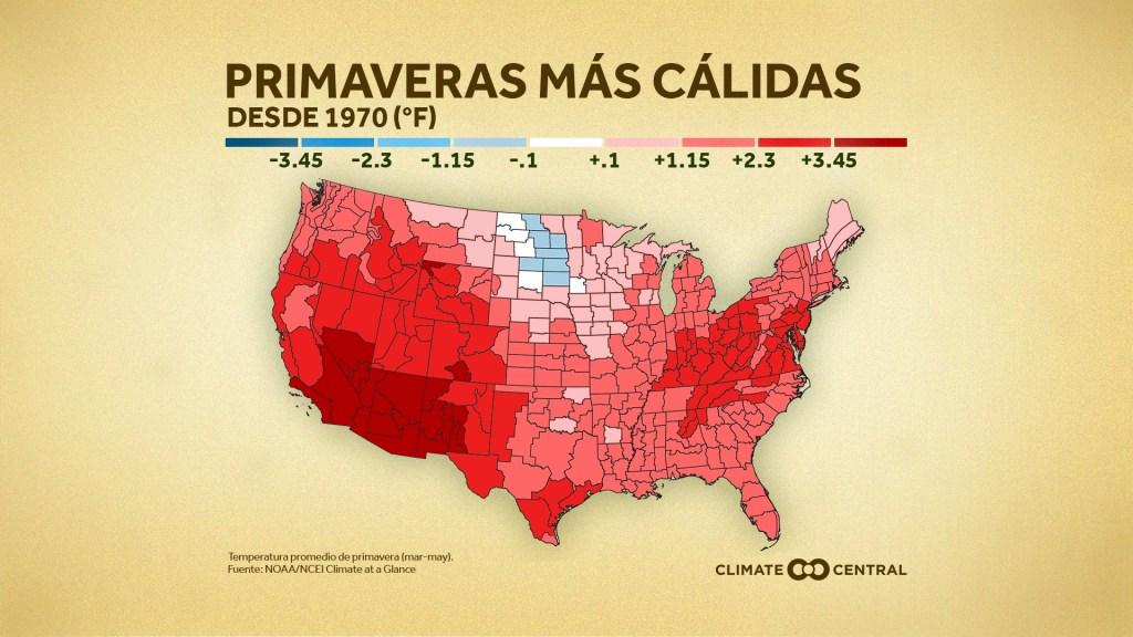 Mapa de los Estados Unidos que muestra las primaveras mas calidas