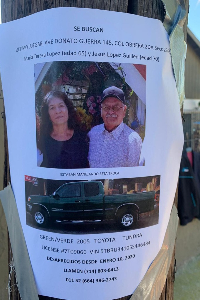 poster de abuelos perdidos en Tijuana