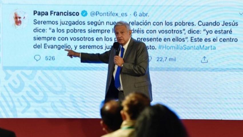 AMLO con tuit del papa Francisco