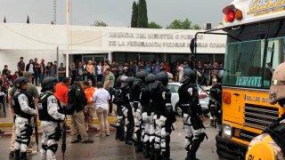 Guardia Nacional en albergue de migrantes en Coahuila