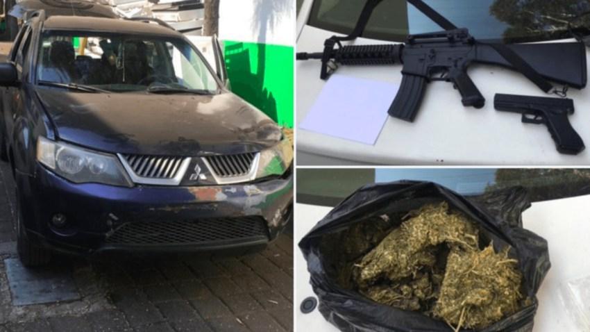 Droga, armas y vehículo decomisado en operativo.