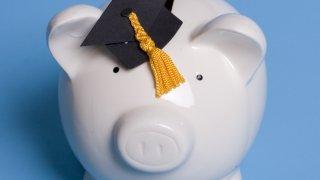 generic college salary piggy bank graduation cap