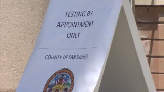 A sign at a San Diego County COVID-19 testing site