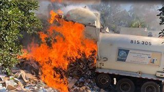 A trash truck made an emergency dump in Mira Mesa on May 5, 2020.