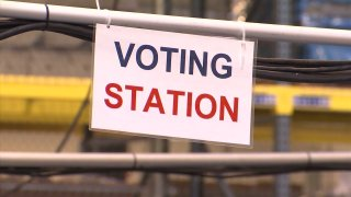 """A """"Voting Station"""" sign."""