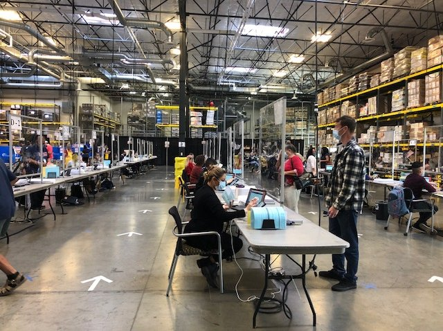 Rows of Election Day workers in San Diego County.