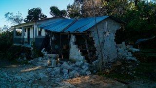 Casa destruida por huracán Eta en Chiapas