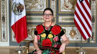 Embajadora de México en EEUU flanqueada por las banderas de los dos países