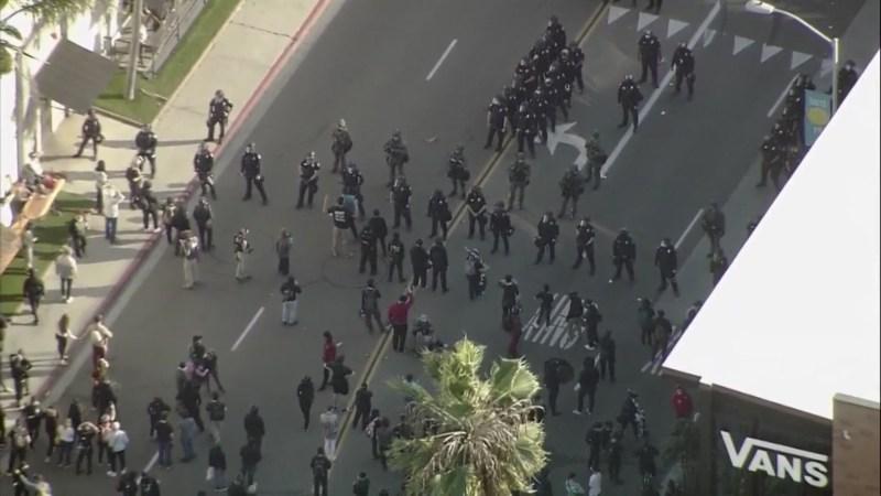 Imágenes aéreas de protesta en Pacific Beach