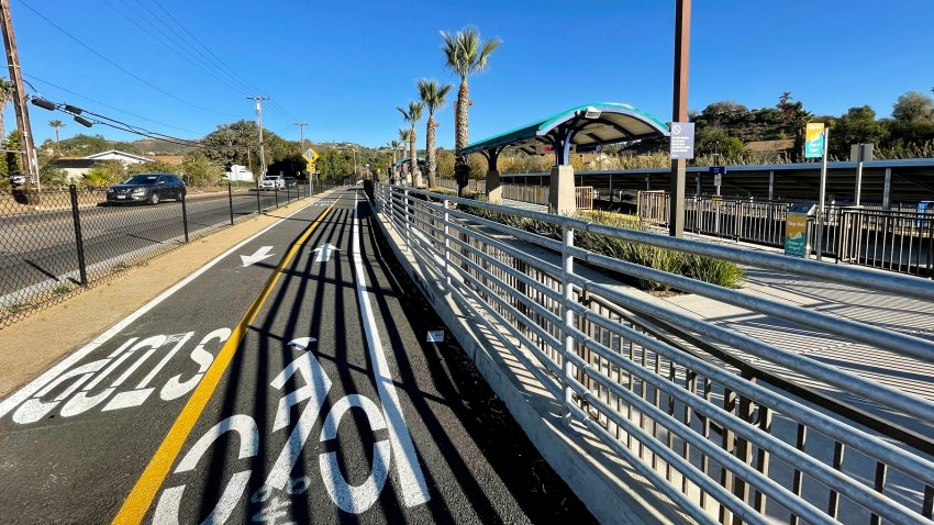 An image of the newly unveiled three-mile portion of the Inland Rail Trail in Vista.