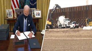 Joe Biden firmando orden ejecutiva y construccion del muro fronterizo