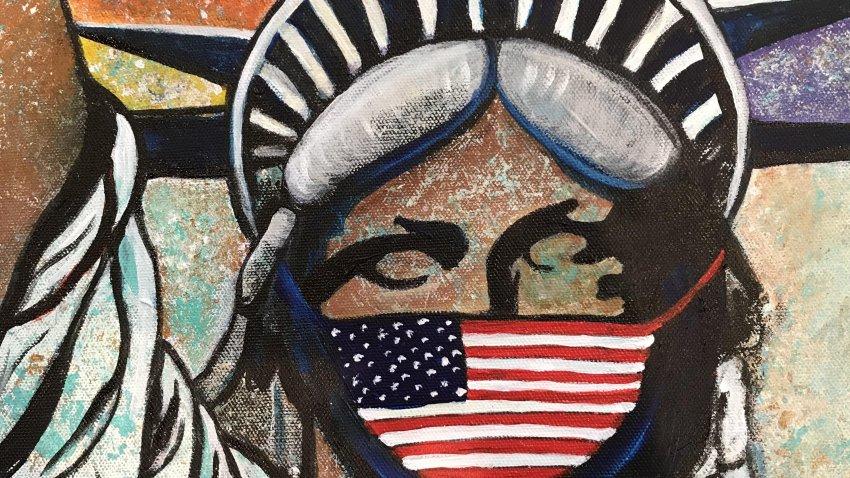 Artwork depicting Lady Liberty by Marilyn Huerta.
