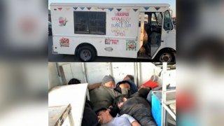 Hallan a migrantes en camión de helados