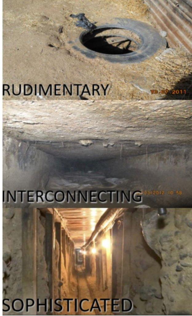 Ejemplos de túneles descubiertos en la frontera.
