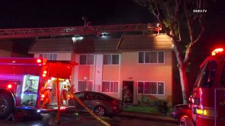 Firefighters respond to a structure fire at a San Ysidro apartment on Friday, July 16, 2021.
