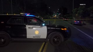 San Diego police respond to the scene of a shooting on Tuesday, Aug. 10, 2021 in Logan Heights.