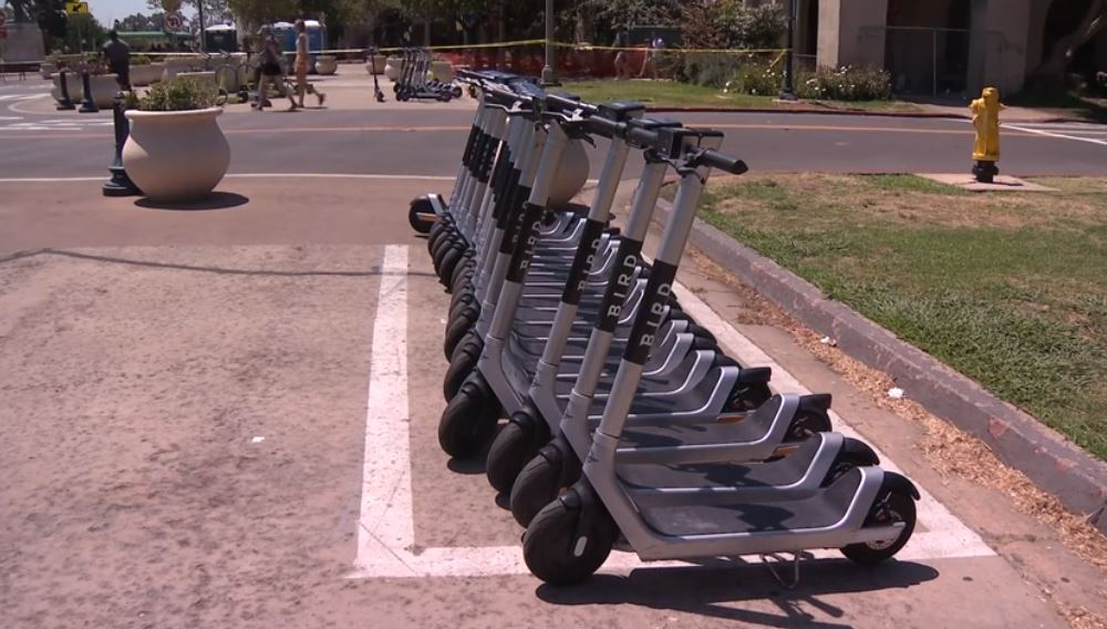 Motorized scooters parked in Downtown San Diego